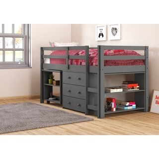 OS Home and Office Dark Grey Pine Roll-out Desk, Three Drawer Chest, and Bookcase Twin Storage Loft Bed