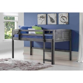 OS Home and Office Louvered Design Twin Low Loft Bed in Antique Grey