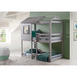 OS Home and Office Deer Blind/Tree House Grey Pine Twin-over-twin Bunk Bed