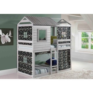 OS Home and Office Deer Blind/Tree House Grey Pine Twin over Twin Bunk Bed with Camo Tent Kit