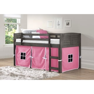 OS Home and Office Louvered Design Grey Pine Wood Twin Low Loft Bed with Pink Tent Kit