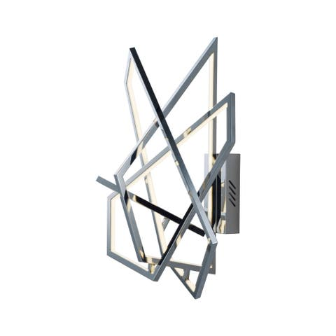 "Trapezoid 20"" Wide Steel Wall Sconce - Polished chrome"