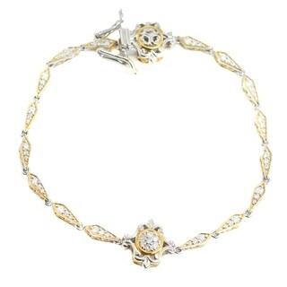 Michael Valitutti Palladium Silver Diamond Matching Bracelet - White