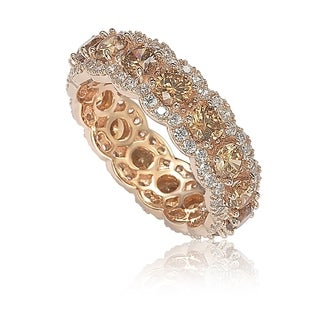 Suzy Levian Rose Sterling Silver Round Cubic Zirconia Champagne and White Eternity Band
