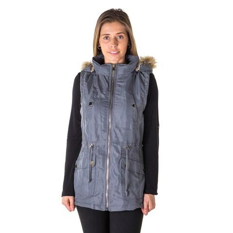Ladies Plus Size Faux Fur Lined Brushed Peach Vest