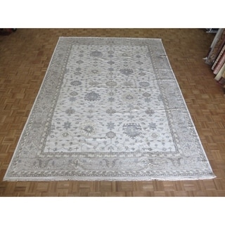 """Hand Knotted Ivory Turkish Bamboo Silk Oushak with Bamboo Silk Oriental Rug (10'3"""" x 14') - 10'3"""" x 14'"""