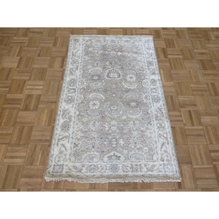 """Hand Knotted Gray Turkish Bamboo Silk Oushak with Bamboo Silk Oriental Rug (3'1"""" x 4'10"""") - 3'1"""" x 4'10"""""""