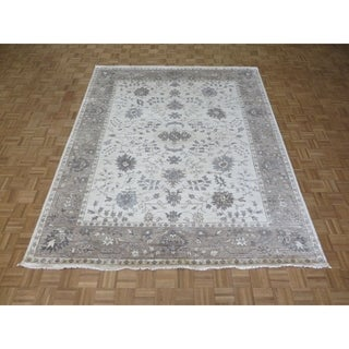 """Hand Knotted Ivory Turkish Bamboo Silk Oushak with Bamboo Silk Oriental Rug (8'3"""" x 10'2"""") - 8'3"""" x 10'2"""""""