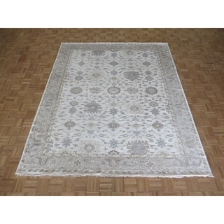 """Hand Knotted Ivory Turkish Bamboo Silk Oushak with Bamboo Silk Oriental Rug (8'3"""" x 9'10"""") - 8'3"""" x 9'10"""""""