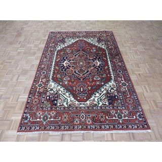 """Hand Knotted Rust Red Serapi Heriz with Wool Oriental Rug (6'1"""" x 9'2"""") - 6'1"""" x 9'2"""""""