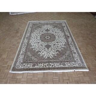 "Hand Knotted Ivory Fine Mahi Tabriz with Wool & Silk Oriental Rug (8'2"" x 11'8"") - 8'2"" x 11'8"""