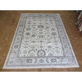 """Hand Knotted Ivory Turkish Bamboo Silk Oushak with Bamboo Silk Oriental Rug (10'3"""" x 14'1"""") - 10'3"""" x 14'1"""""""