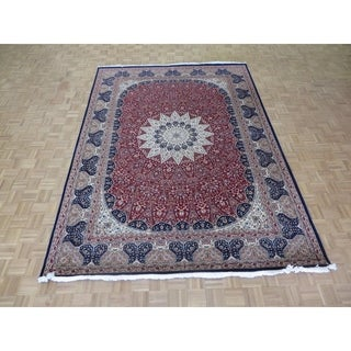 "Hand Knotted Red Tabriz Gombad with Wool & Silk Oriental Rug (8'3"" x 11'6"") - 8'3"" x 11'6"""