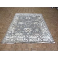 """Hand Knotted Gray Oushak with Wool Oriental Rug (8'2"""" x 10') - 8'2"""" x 10'"""