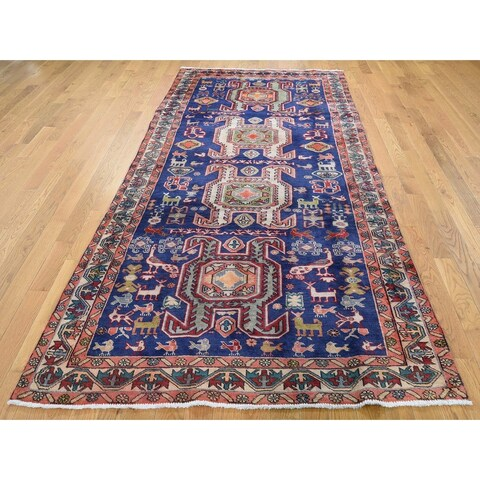 """Hand Knotted Blue Heriz with Wool Oriental Rug (4'6"""" x 9'7"""") - 4'6"""" x 9'7"""""""