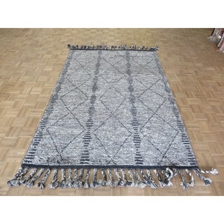 "Hand Knotted Gray Moroccan with Wool Oriental Rug (5'10"" x 8'5"") - 5'10"" x 8'5"""