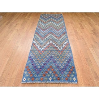 "Hand Knotted Multicolored Flat Weave with Wool Oriental Rug (2'8"" x 10') - 2'8"" x 10'"