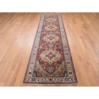 """Hand Knotted Red Heriz with Wool Oriental Rug (2'7"""" x 10') - 2'7"""" x 10'"""