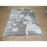 "Hand Knotted Gray Modern with Wool & Silk Oriental Rug (8'11"" x 11'10"") - 8'11"" x 11'10"""