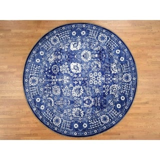 """Hand Knotted Blue Modern & Contemporary with Wool & Silk Oriental Rug (7'1"""" x 7'2"""") - 7'1"""" x 7'2"""""""