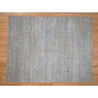 """Hand Knotted Grey Modern & Contemporary with Wool & Silk Oriental Rug (8' x 10'3"""") - 8' x 10'3"""""""
