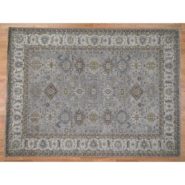 Shop Hand Knotted Grey Heriz With Wool Oriental Rug 9 X 12 9