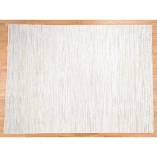 """Hand Knotted Ivory Modern & Contemporary with Wool & Silk Oriental Rug (9' x 12'1"""") - 9' x 12'1"""""""