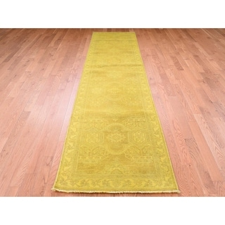 "Hand Knotted Yellow Overdyed & Vintage with Wool Oriental Rug (2'7"" x 10'7"") - 2'7"" x 10'7"""