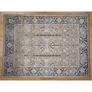 "Hand Knotted Green Fine Oriental with Wool & Silk Oriental Rug (9' x 12'2"") - 9' x 12'2"""