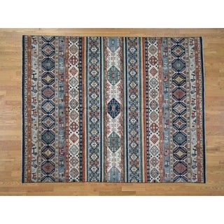 "Hand Knotted Multicolored Kazak with Wool Oriental Rug (8'2"" x 10') - 8'2"" x 10'"