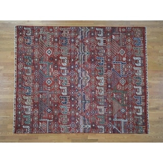 """Hand Knotted Red Tribal & Geometric with Wool Oriental Rug (8'1"""" x 9'10"""") - 8'1"""" x 9'10"""""""