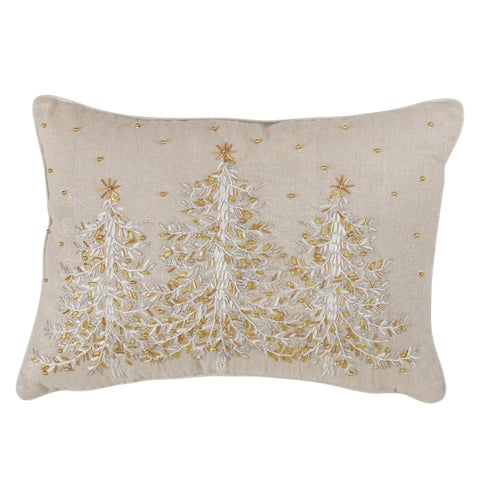 Poly Blend Christmas Accent Pillow With Embroidered Design And Down Filling