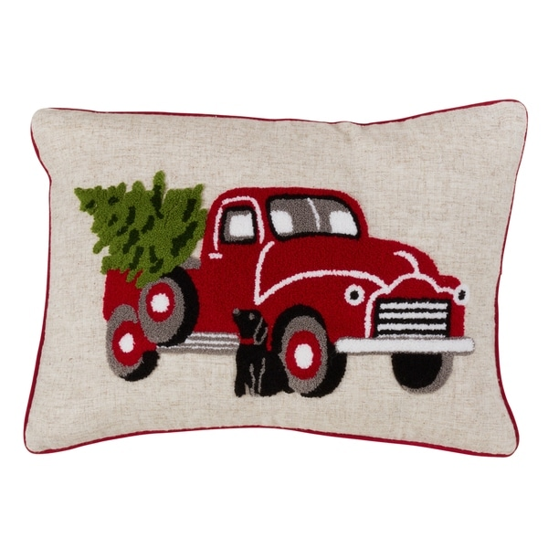 red truck and christmas tree down filled throw pillow