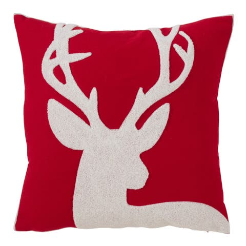 Holiday Reindeer Down Filled Throw Pillow