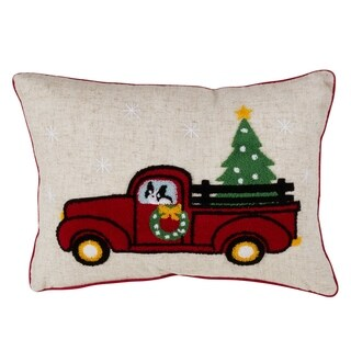 Christmas Red Truck Down Filled Throw Pillow