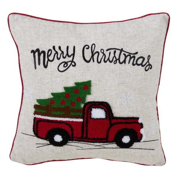 Christmas Vintage Red Truck Down Filled Throw Pillow