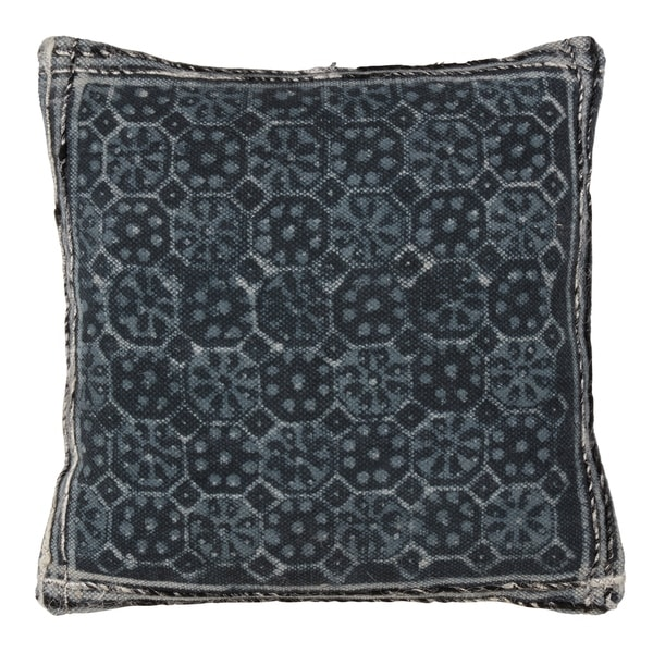 Tile Block Print Down Filled Cotton Accent Throw Pillow