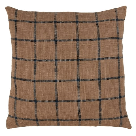 Cotton Throw Pillow with Checkered Design and Down Filling
