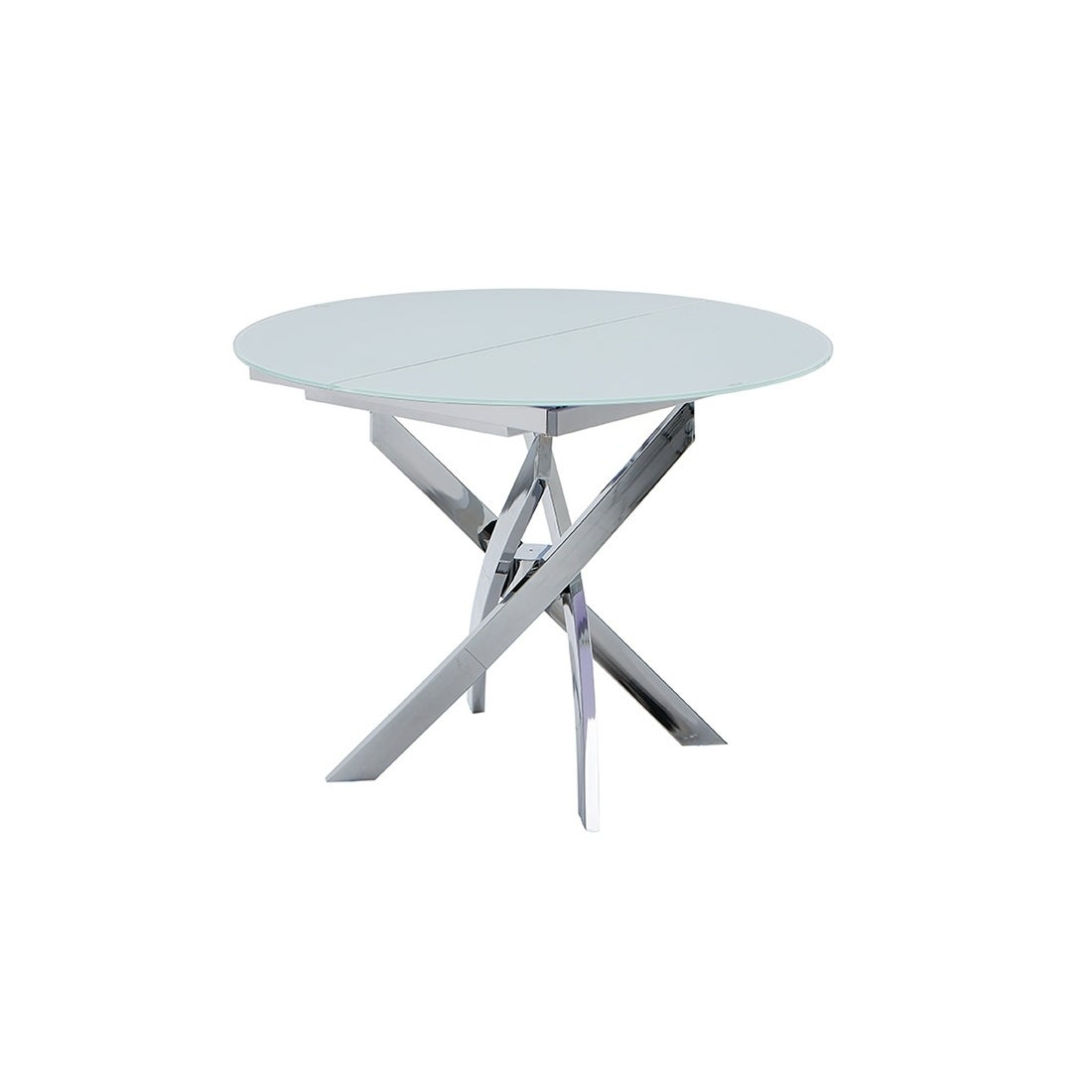 Shop Luca Home Eliza Extendable Glass Dining Table - White ...