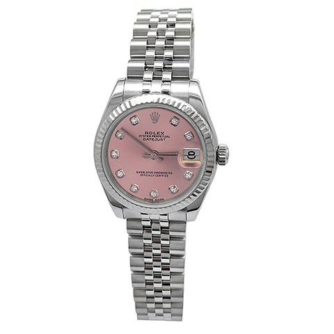 Pre-owned 31mm Rolex Stainless Steel Oyster Perpetual Datejust Watch with Factory Rolex Pink Diamond Dial - N/A - N/A