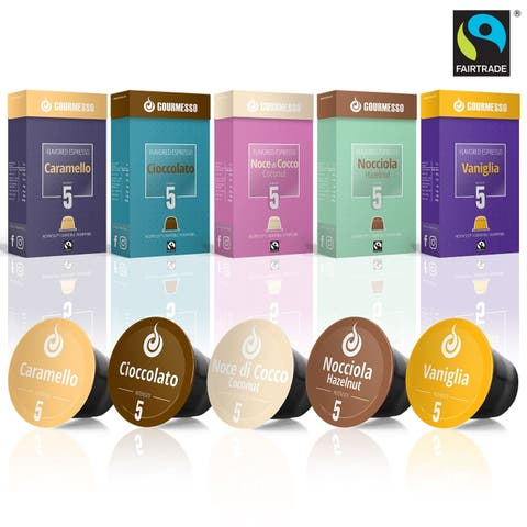 Gourmesso Flavor Bundle - 50 Coffee Capsules Compatible with Nespresso Machines - 100% Fair Trade Flavored Espresso Variety Pack