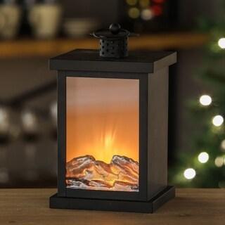 LED Faux Fireplace Lantern