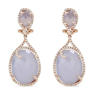 14K Rose Gold Dangling Earrings with White Diamonds; Oval Blue Chalcedony with Omega Clasp