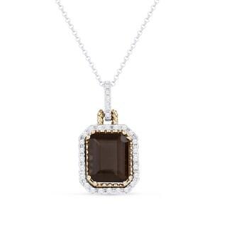 14K Two-Tone Gold Pendant-Necklace; Cushion Smoky Topaz with White Diamonds