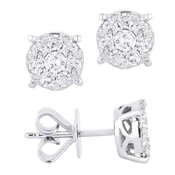 18k White Gold Earrings Round Diamond Stud With Post Clasp
