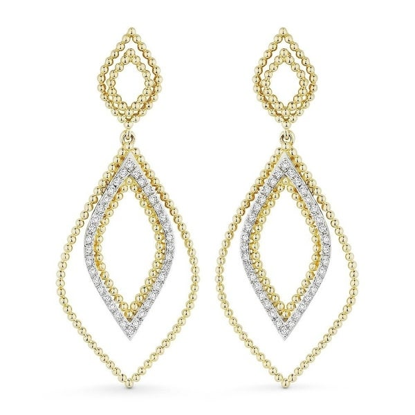 63b74c15c Shop 14K Yellow Gold Earrings; Round White Diamond Dangling Earrings with  Post Clasp - Free Shipping Today - Overstock - 22859206