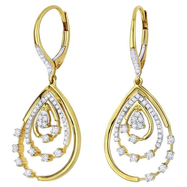 d11ad2000 Shop 14K Yellow Gold Earrings; Round White Diamond Dangling Earrings with Leverback  Clasp - Free Shipping Today - Overstock - 22859211