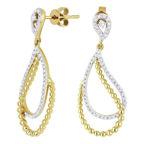 66a08cb79 Shop 14K Yellow Gold Earrings; Round White Diamond Dangling Earrings with  Post Clasp - Free Shipping Today - Overstock - 22859218