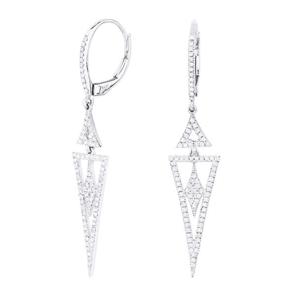 bebd07dfd Shop 14K White Gold Earrings; Round White Diamond Dangling Earrings with Leverback  Clasp - Free Shipping Today - Overstock - 22859233