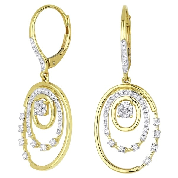 07d249414 Shop 14K Yellow Gold Earrings; Round White Diamond Dangling Earrings with Leverback  Clasp - Free Shipping Today - Overstock - 22859258